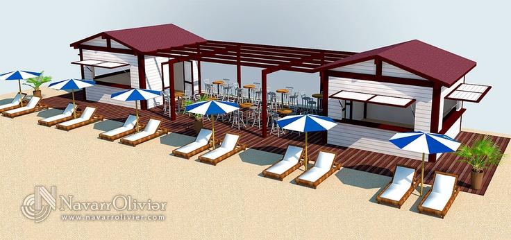 Proyecto de construcción escuela de vela con chiringuito.  Infografía de instalaciones.  www.navarrolivier.com  #3d #diseño #proyecto #chiringuito #playa #modulo