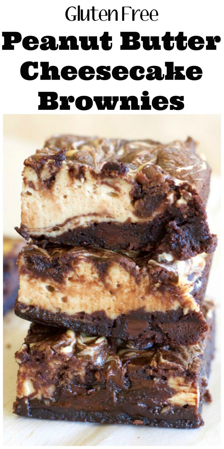 These easy gluten free Double Chocolate Cheesecake Peanut Butter Brownies are loaded with dark chocolate flavor, creamy cheesecake and rich peanut butter!