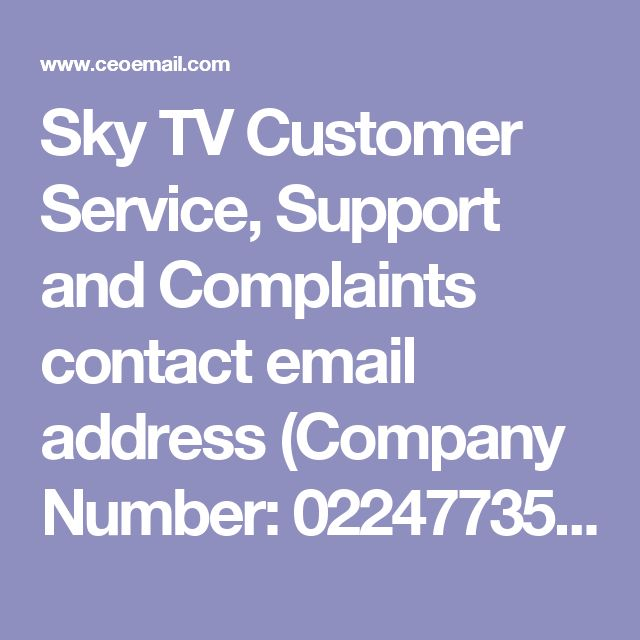 Sky TV Customer Service, Support and Complaints contact email address (Company Number: 02247735) at Grant Way, Isleworth, Middlesex, TW7 5QD