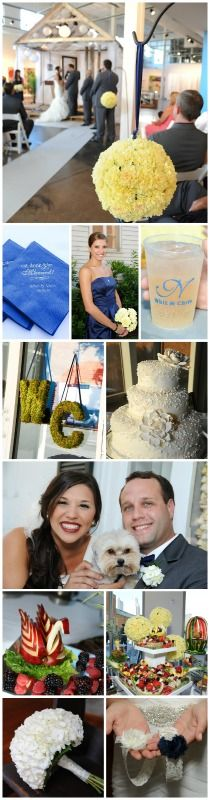 Theme – Finally Married Colors – Navy & Yellow Photography by Melinda Mercer Location – Space 301 in Mobile, Alabama Florist – Belle Bouquet Cake – Pastry Shop
