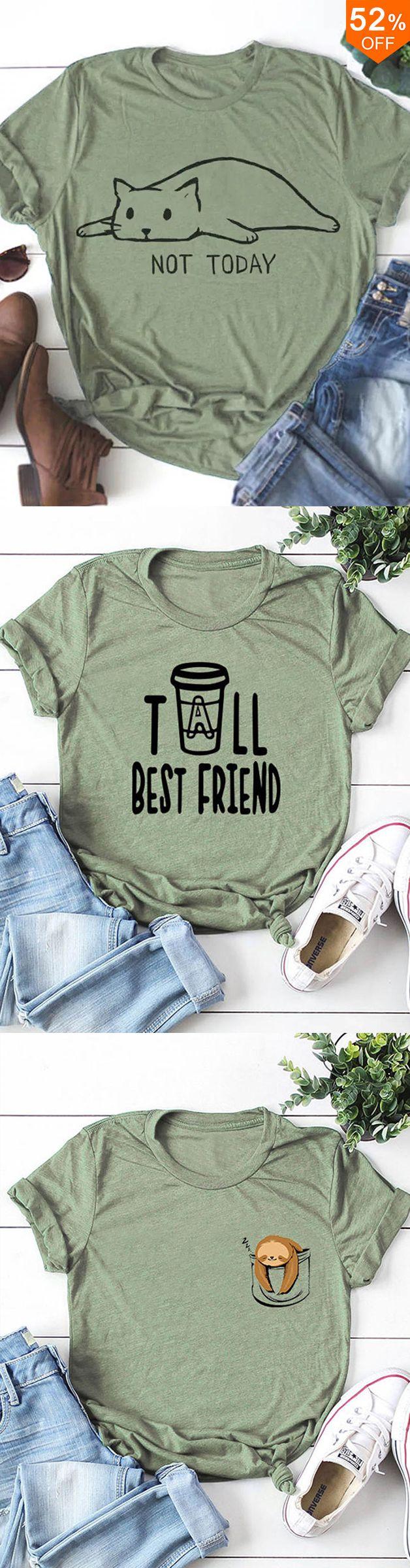 Cat Print Crew Neck Short Sleeve Cotton T-shirts 5