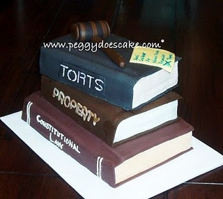 I need this for my law school graduation party except with different subjects. Whoever wanted this cake is weirddd! Who likes con law and property!?!?