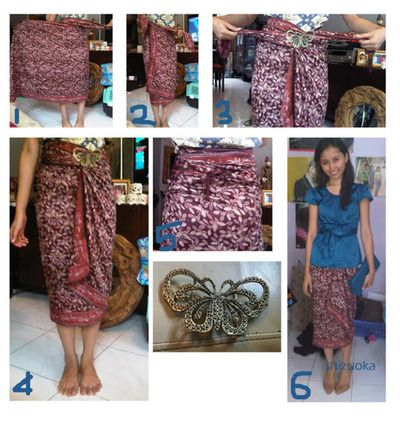How to wear batik sheet as saroong. Step by step.