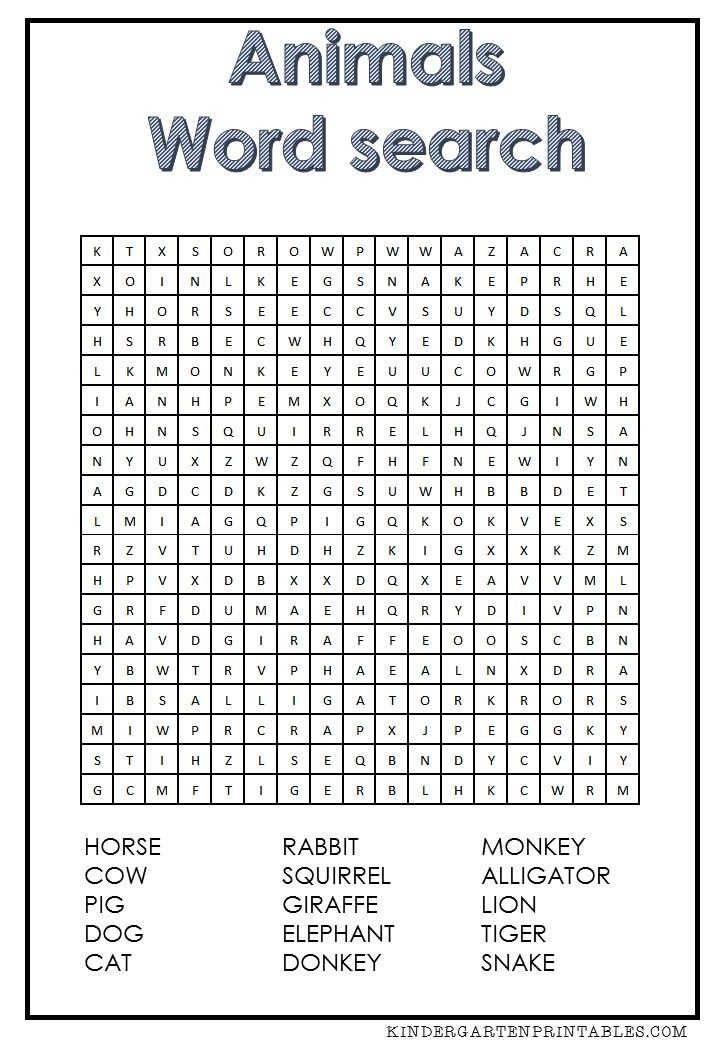 Tropical Animal Wordsearch