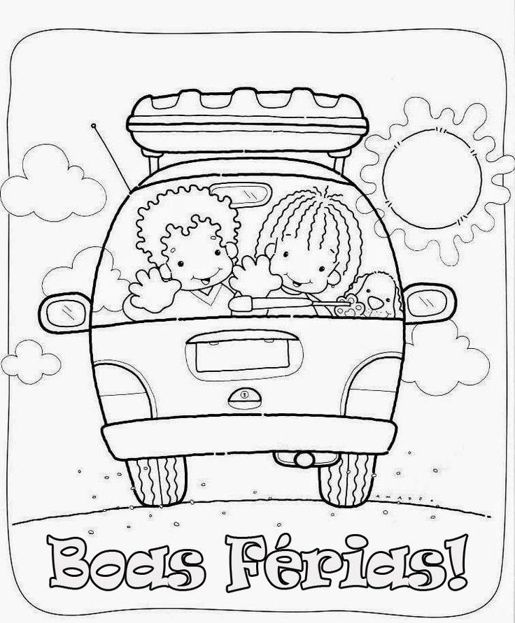 Desenhos de Férias para pintar, colorir, imprimir! Desenhos de crianças brincando no verão, praia, calor - Espaço Educar desenhos para colorir