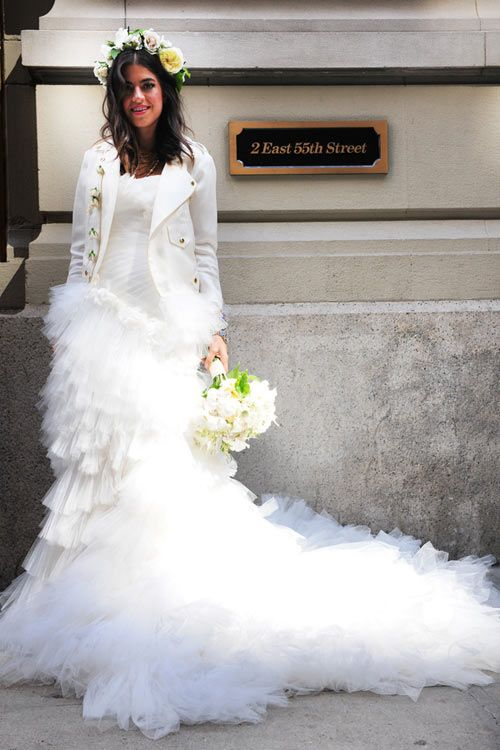 The Man Repellers Marchesa Wedding Gown And A Rebecca Minkoff White Biker Jacket Nothing Compares