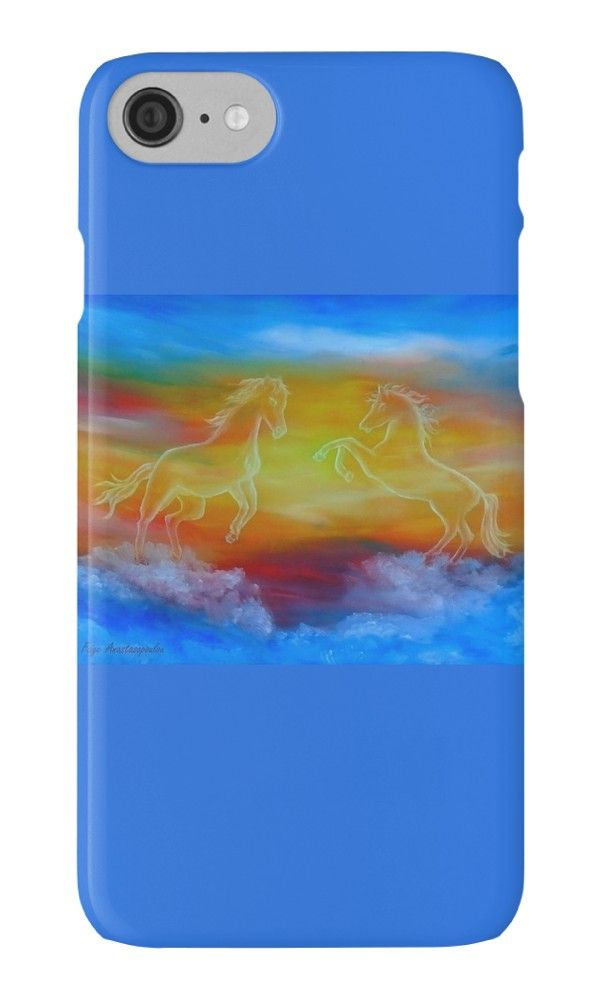 IPhone Case,   horses,sky,blue,colorful,magical,majestic,impressive,fantasy,cool,beautiful,unique,trendy,artistic,unusual,accessories,for sale,design,items,products,ideas,redbubble