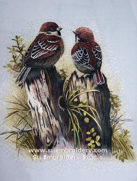 Sparrow, silk hand embroidered, handmade embroidery, Suzhou embroidery