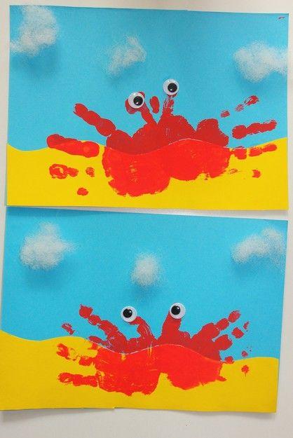 Basteln mit Kindern, Strandkrabbe / Beach Crab, Basteln für Kinder, Kita , Krippe , Kindergarten , Handabdruck