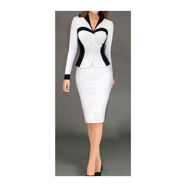 Rotita White Long Sleeve Turndown Collar Sheath Dress ($23) ❤ liked on Polyvore featuring dresses, white, white sleeve dress, white knee length dress, patchwork dress, white collar dress and collar dress
