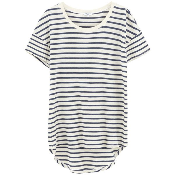 Splendid Sequoia Stripe Tee - Paper (£100) ❤ liked on Polyvore featuring tops, t-shirts, white top, white scoop neck tee, oversized white tee, white t shirt and stripe tee