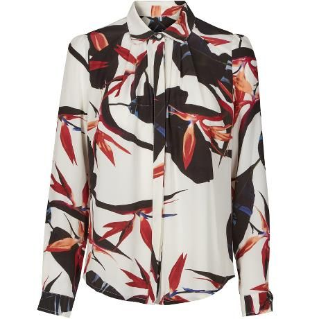 Jordan shirt. Pretty shirt with black, white and red paradise flower print.