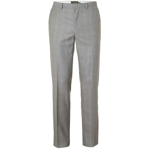 TOPMAN Grey Check Slim Fit Suit Trousers ($65) ❤ liked on Polyvore featuring men's fashion, men's clothing, men's pants, men's dress pants, mid grey, mens polyester pants, mens gray dress pants, mens gray pants, mens zip off pants and mens grey pants