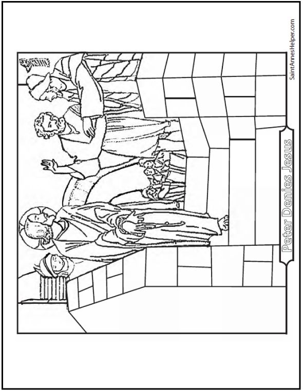 Peter Denies Jesus The First Time Coloring Page
