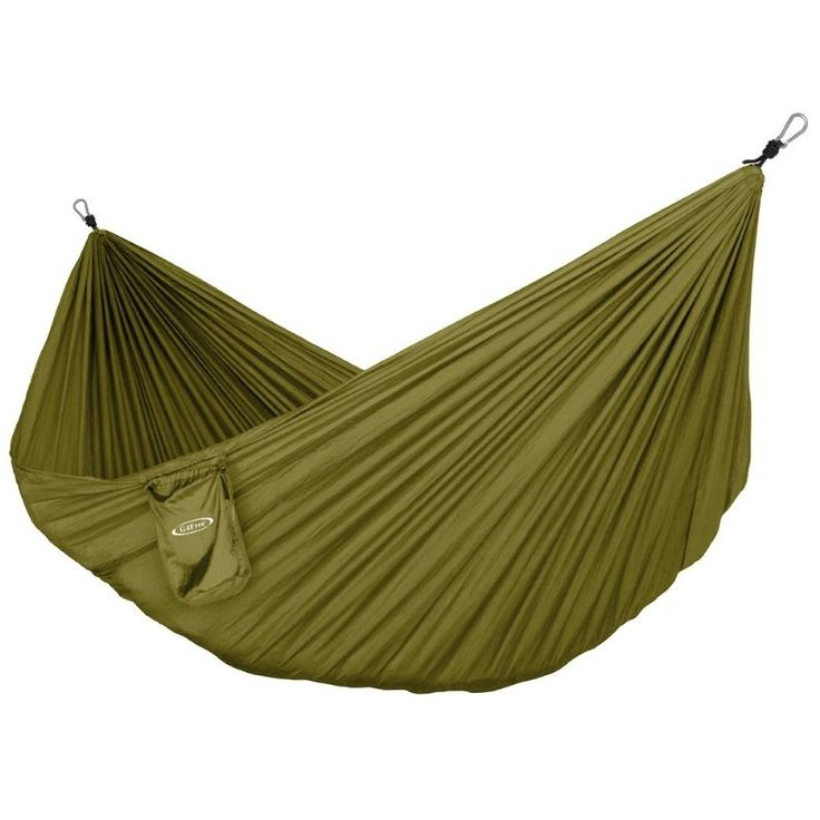 Parachute material, allows people to sit in different positions, potentially reconciling out problem with not having enough space.  Outdoor Collapsible Hammock