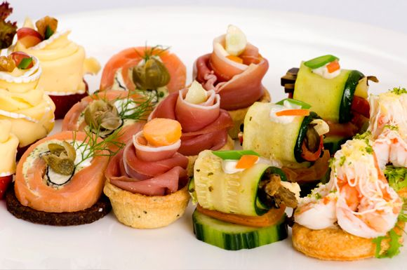 Cold canapes can be beautiful and create a dramatic table setting