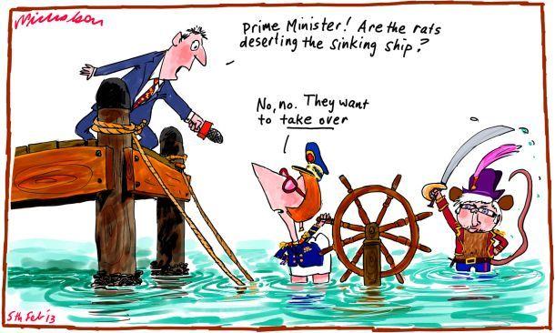 Julia Gillard says rats not desert ship Kevin Rudd cartoon (5 February 2013)
