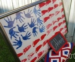 handprint/footprint American flag -- classroom art idea for Flag Day or Independence Day