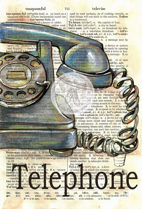 PRINT:  Old Telephone Mixed Media Drawing on Distressed, Dictionary Page
