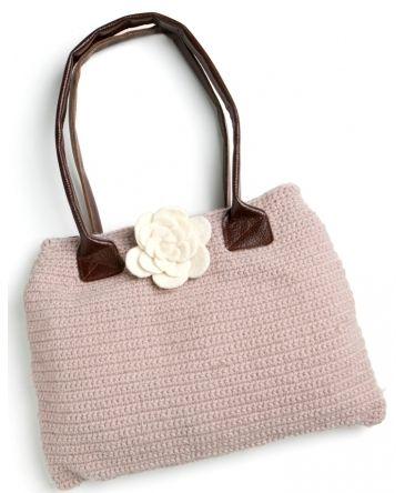 Taske - Hæklet taske i lavendel.