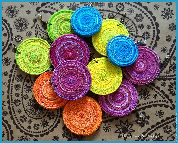 Купить Цветные серьги из полимерной глины - комбинированный, серьги, серьги из полимерной, полимерная глина