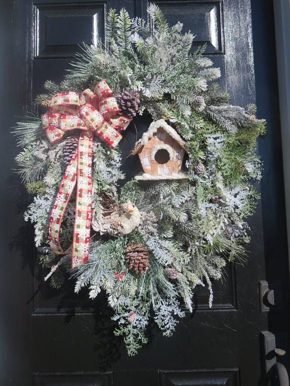Farmhouse Wreath Winter For Front Door Snow