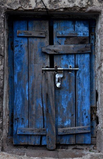 Blue and gray door