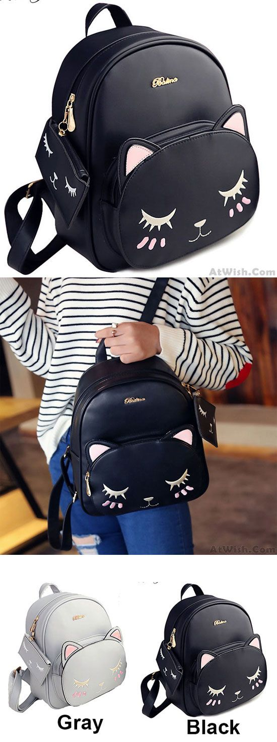 Leisure Kitty Cartoon Kitten Fashion PU Cute Cat Printing School Backpacks for big sale! #cartoon #kitten #leisure #Backpack #Bag #fashion #cat