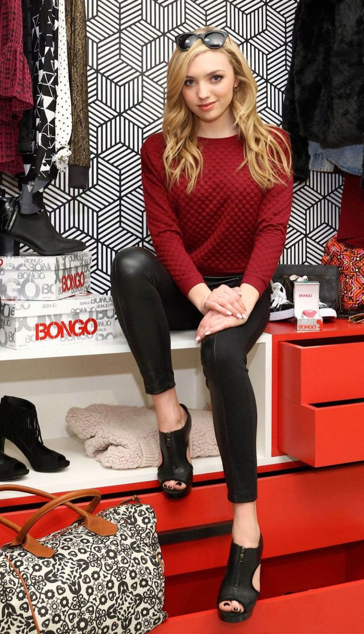 Peyton List Wears Black Leather While Hosting Bongo Style Event At Sears Del Amo Fashion Center