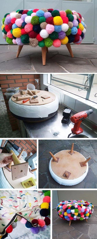 DIY Pom Pom Poof. Un pouce recouvert de pompons
