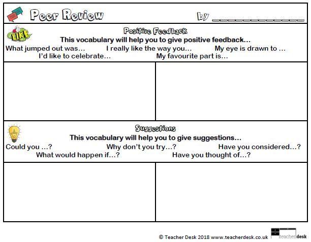 Peer Review Slips Freebie Teacher Desk Www Teacherdesk Co Uk Teaching Writing Resource Classroom Teacher Desk Organization