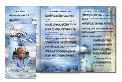 Funeral Trifold Brochures: Lighthouse Tri Fold Brochure with lovely background images of blue hues