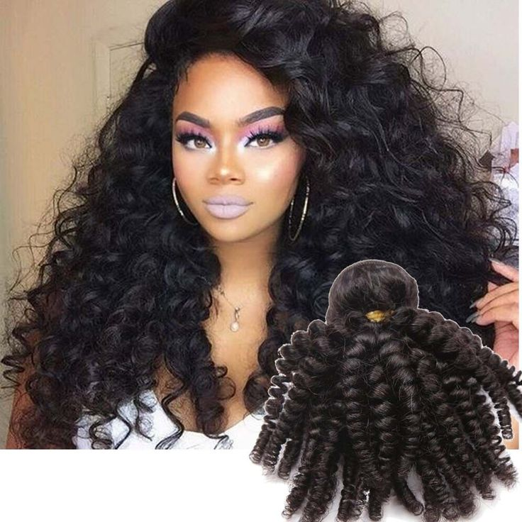 "3Bundles 18"" 300g Real Human Hair Extension 1b# Kinky Curly Hair Weft #Unbranded"