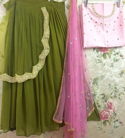 Olive Green And Pink Lehenga Online Shopping ,Indian Dresses - 2