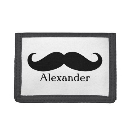 Funny Personalized Gentleman's Mustache Tri-fold Wallet - tap to personalize and get yours