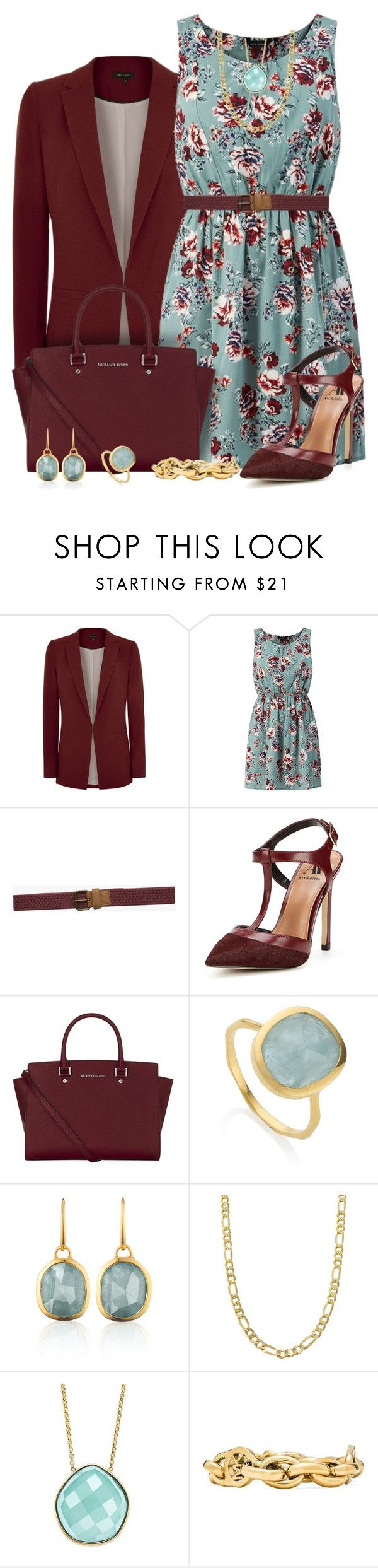 Mint Green and Burgandy Floral Dress Outfit by helenehrenhofer on Polyvore featuring Ava & Aiden, MICHAEL Michael Kors, Michael Kors, Monica Vinader, Fremada and Mr Simple