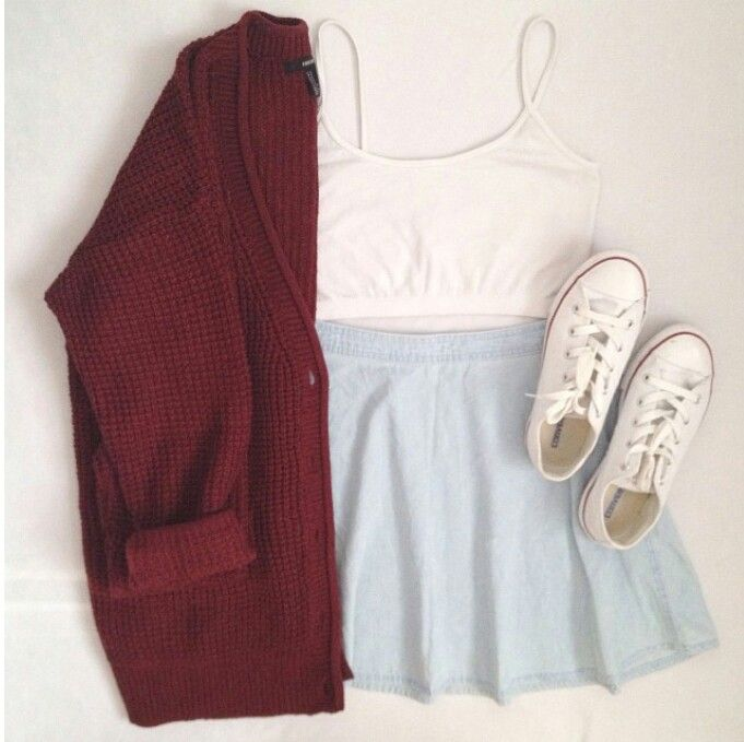 Light wash denim skater skirt + maroon cardigan + white crop top. I would be too scared to wear this, but it's adorable.