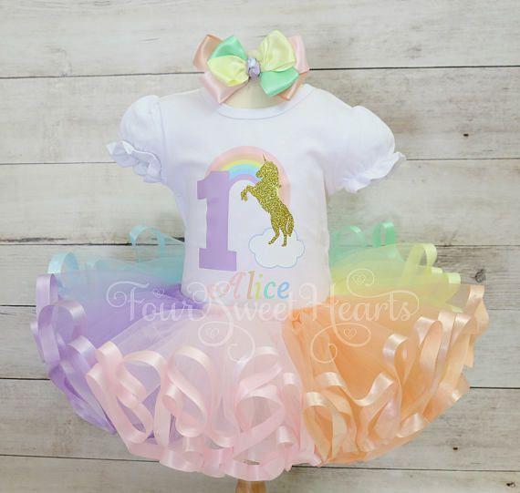 Cumpleaños unicornio traje arco iris Pastel traje traje de