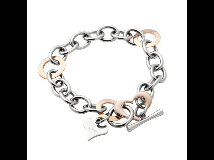 A Rose At Dawn Bracelet..Beautiful Modern Bracelet featuring Rose Gold rings with Rose Gold heart and heart charm. Stainless Steel with IP Rose links. www.envyjewellery.com.au
