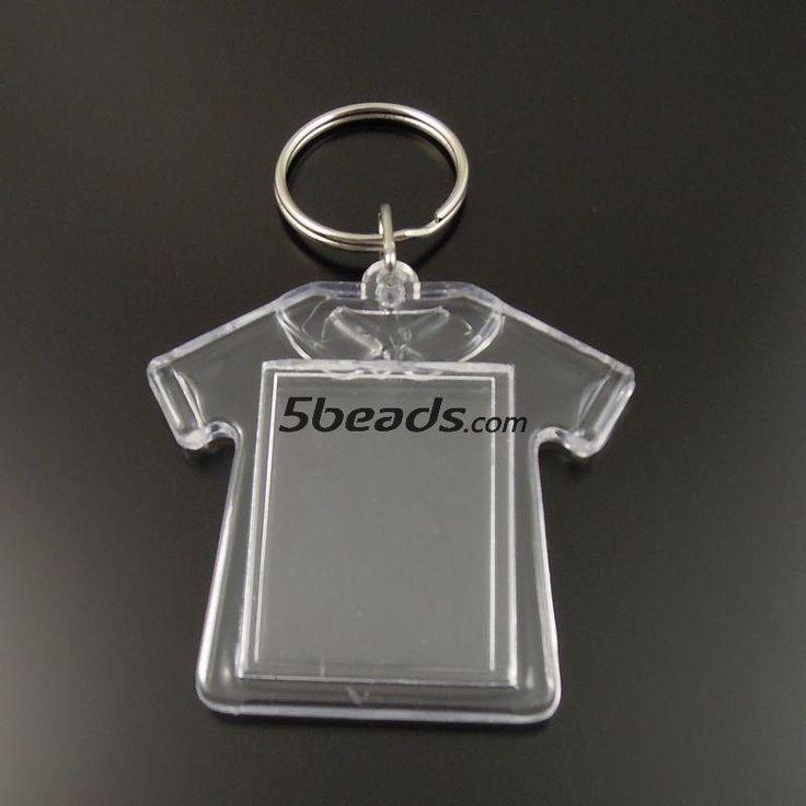 GraceAngie Прозрачный Бланк Пластиковые Вставки Фоторамка Брелок Брелок 8 шт. Ручной Работы Кольца Для Ключей 35661