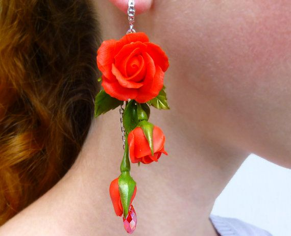 Red earrings Long earrings Flower earrings Red by jewelryNatalie
