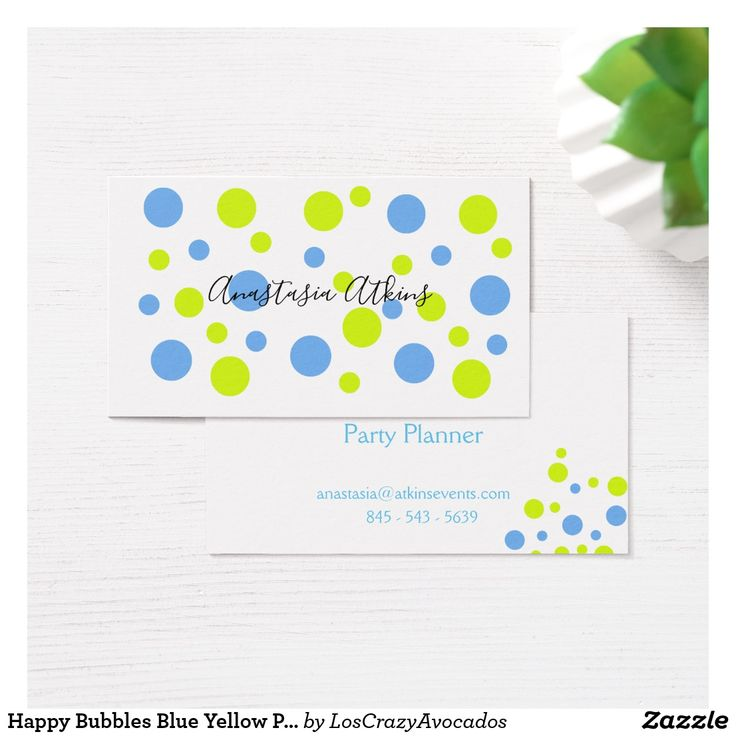 Happy Bubbles Blue Yellow Pattern Business Card
