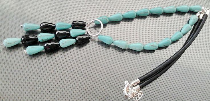 Howlite like turquise and onyx drops, for sale :-)