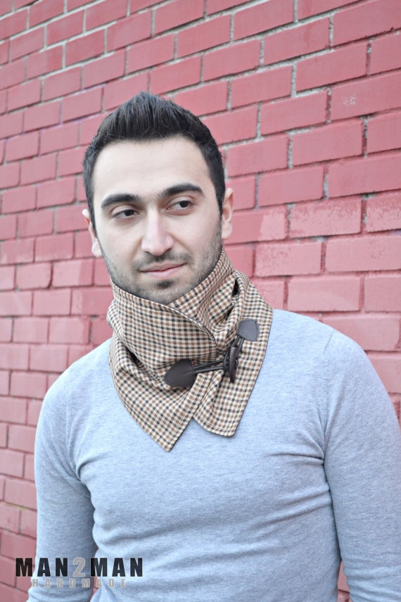 Elegant Brown Shades Plaid Handmade Scarf / Neckwarmer - For Him / For Her / Perfect Gift