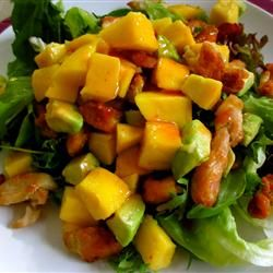 Chicken, Avocado and Mango Salad w/ Spicy Lime Dressing Recipe // could add red onion, cashews cilantro