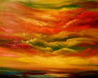 original oil painting wall art wall hanging abstract cloud sunset painting textured sunset 2 - Mattsart