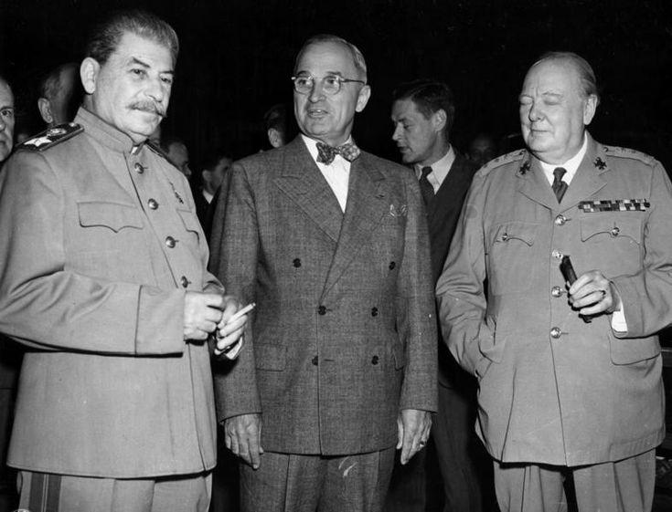 Joseph Stalin, Harry Truman, and Winston Churchill during the Potsdam Conference, Germany, 17 Jul 1945