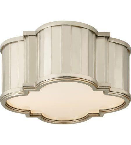 Visual Comfort Thomas OBrien Tilden 2 Light Flush Mount in Polished Nickel TOB4130PN-WG #visualcomfort
