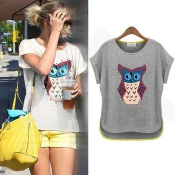 $9.23 Hot Free Shipping 2014 Spring European Style Women Clothing Owl Printing Diamond Cotton Short-sleeve Casual T-shirt LBR8853