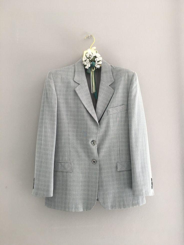 GIACCA VINTAGE GRIGIA, giacca donna taglia 50, gessato grigio, made in Italy, giacca in viscosa, giacca alta qualità, giacca casual di ChicItalianDress su Etsy